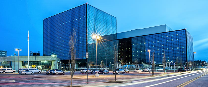Photo of NSA Washington Headquarters at dusk.