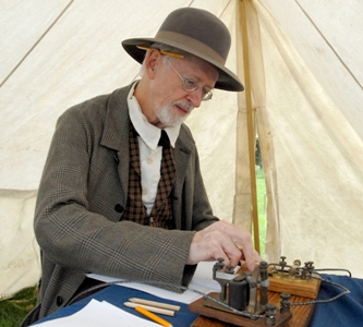 Reenactor Jim Wilson portrays a member of the U.S. Military Telegraph Corps. (National Security Agency photo).