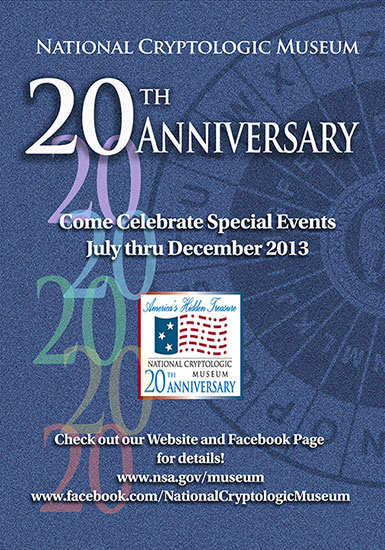 Image of the National Cryptologic Museum's 20th Anniversary Celebration poster with artwork containing the number 20 and partial display of cypher wheel