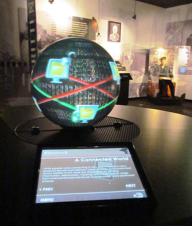 The new Magic Planet® device in the NCM's Gallery 3 provides an interactive presentation on the history of communications.