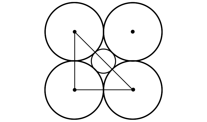 The diagram of 5 circles is shown without any region shaded. The square has been reduced to a right triangle, but the original 4 points marking the center radius of each large circle are still visible.