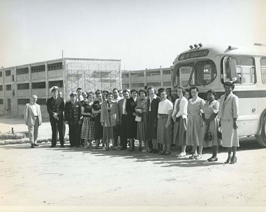Employees from Arlington Hall Station on a visit to the site of the new NSA, the William and Elizebeth Friedman Operations Building (Operations Building 1) is in the background