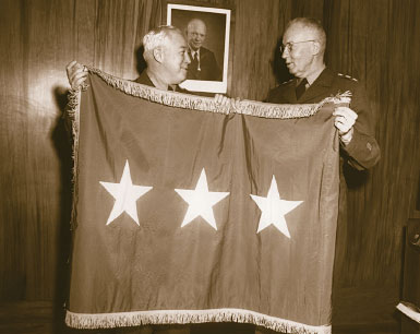 NSA Director Lieutenant General Ralph J. Canine, USA, receives three-star flag upon appointment to NSA, 1952