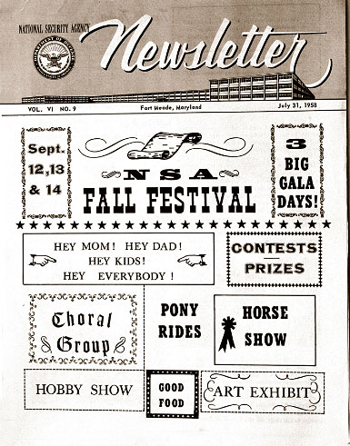 NSA Newsletter advertising the fall festival in July 1958