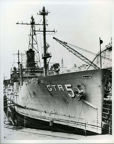 U.S.S. Liberty in Malta dry dock following attack