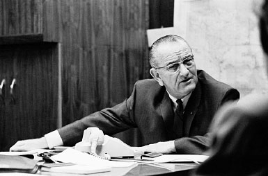 President Johnson meeting with National Security Council
