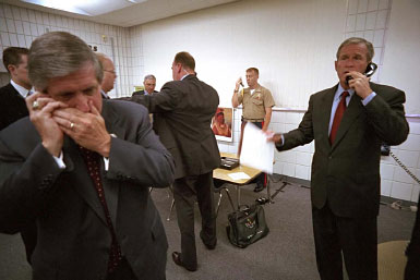 President George W. Bush speaking on the phone following the terrorist attacks on September 11, 2001
