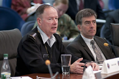 NSA Director GEN Keith B. Alexander, USA, and NSA Deputy Director John 'Chris' Inglis at Campaign Update in the Director's Large Conference Room