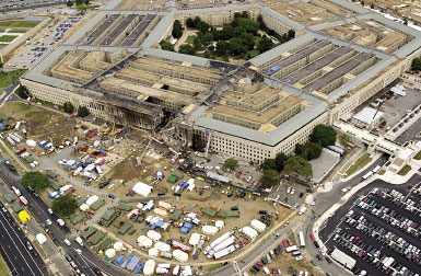Aerial view of the damage to the Pentagon following 9/11 attack