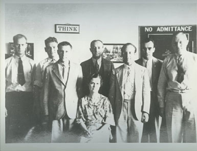 The U.S. Army Signal Intelligence Service posed in front of their vault, 1935.
