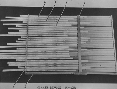 M-138,a strip cipher device that allowed the use of multiple alphabets to encipher messages.