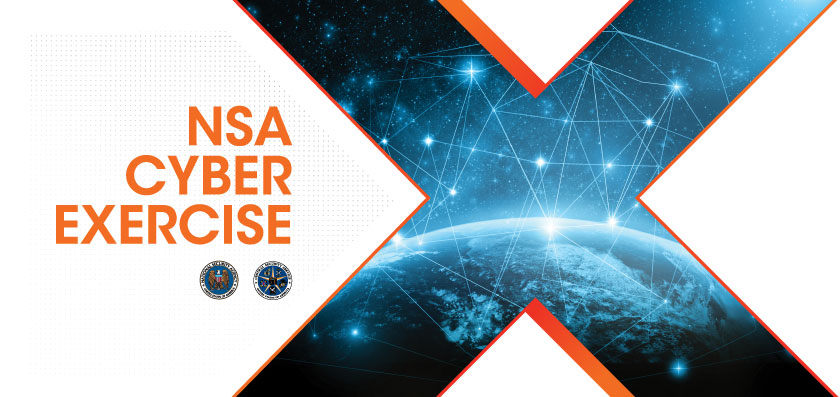 NSA Cyber Exercise - Title and Logo with artistic rendering of earth from space with a glowing web above it